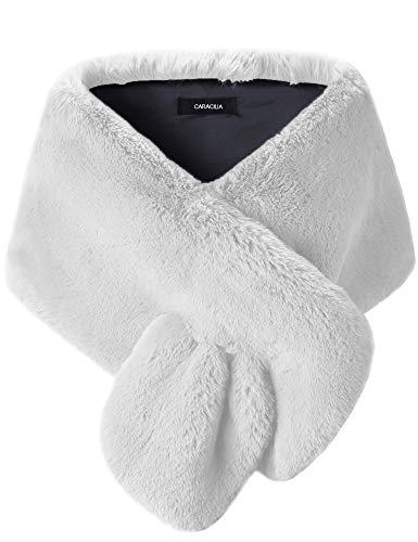Caracilia Women Faux Fur Cape Wedding Shawl and Stole Wrap Winter Shrug Scarf bai L CAFB3 White
