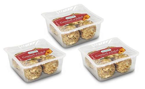 3 Packungen Pfifferlingsknödel von Gustos, jeweils 4 Stück. Die Knödel mit den leckersten Pilzen überhaupt, hergestellt nach traditionalem Rezept der Südtiroler Küche