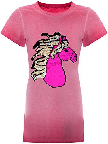 Mädchen Wende-Pailletten Tunika Long-Shirt Pferde-Motiv Kurzarm Kleid 22494 Rosa Größe 152