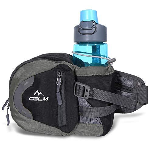 Fanny Pack Waist Bag for Men Women Water Bottle Holder Adjustable Belt for Hiking Travel Outdoor Walking Running Carry iPhone Money Black