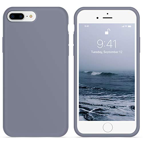 OTOFLY iPhone 8 Plus Case,Ultra Slim Fit Liquid Silicone Gel Cover with Full Body Protection Anti-Scratch Shockproof Case Compatible with iPhone 7 Plus/iPhone 8 Plus, Lavender [Upgraded Version]