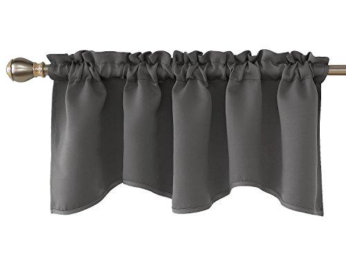 Deconovo Window Curtain Valances for Kitchen Solid Scalloped Valance Short Curtains 42x18 Inch Light Grey 1 Drape
