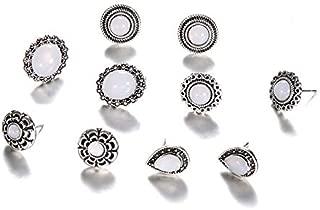 10 Unids/set Mujeres Personalidad Flor Tallada Hollow Drop Gem Opal Pendientes Set Party Wedding Gift Accessories