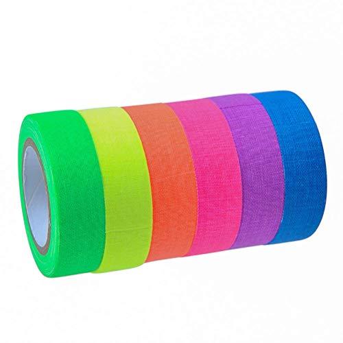 Neon Klebeband,6 Pack Fluoreszierende Tape 6 Farben Fluoreszierend Klebeband UV Aktiv Schwarzlicht Klebeband Neon Gaffa Tape für Parteien Dekorationen
