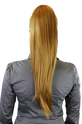 Postiche: Couette/queue de cheval volumineuse mais lisse, nouvelle attache avec mini pince papillon, blond doré, 65 cm WK06-25