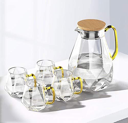 WXXT Jarra de Agua de Vidrio,Jarra Agua Cristal con Filtro y Tapa de Madera Jarra de Bebidas para Agua fría y Caliente té Helado café Jugo de Leche Vaso hervidor de Vidrio Set