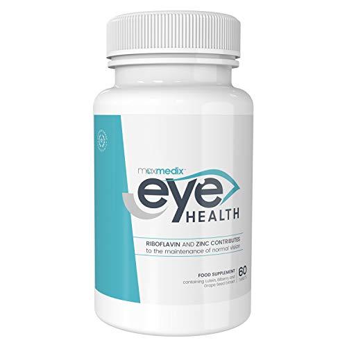 Vitamines pour les Yeux avec Lutéine 20 mg – 60 Gélules 1000 mg MaxMedix | Complément Alimentaire Eye Heath avec de l'Omega 3, Riboflavine, Zinc qui Contribuent au Maintien d'une Vision Normale
