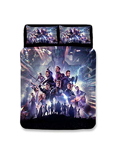 Leezeshaw 3 Pcs The Avengers Endgame Print Duvet Cover Set with Two Pillow Cases,Marvel Superheroes Pattern Bedding Set for Kids & Adults(No Comforter)