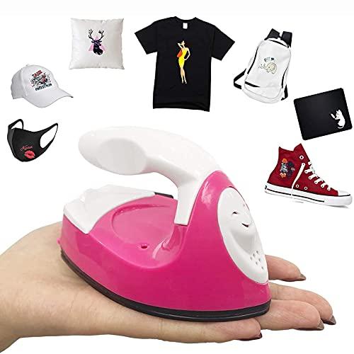 MUYEY Mini Prensa de Calor Adecuada para Camisetas, Zapatos, Sombreros, Accesorios con Base Recargable, Mini Prensa de Transferencia portátil,Rosado