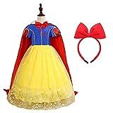 AISHANGYIDE Disfraz de Blancanieves para Niña Vestido de Princesa Vestido de Cumpleaños Fiesta Disfraz de Halloween Carnaval Disfraz de Cosplay con Capa