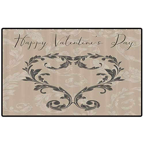 RenteriaDecor Taupe Floor Mats Happy Love Valentines Day Stylized Hand Writing Laurel Leaves Forming Heart Victorian Inside Doormat and Back Door Mat