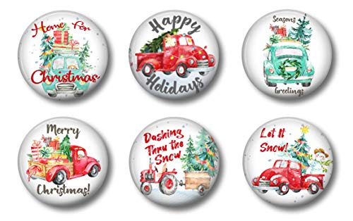 Farmhouse Decor Refrigerator Magnets Old Red Truck Christmas Decoration Locker Magnets Stocking Stuffers Set of 6 (Red Trucks 1)