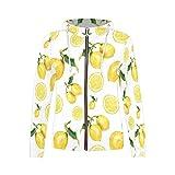 InterestPrint Women's All Over Print Hooded Sweatshirt Sweater with Zipper Watercolor Lemons XL