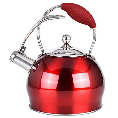 Tetera silbante 3 litros Rojo metálico de Acero Inoxidable quemadores Whistling Kettle WHLONG