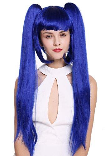 WIG ME UP - ZM-1708-SK22F Perücke Damenperücke Cosplay Lolita kurz Bob lange, glatte abnehmbare Zöpfe blau