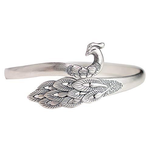 Fine Silver Peacock Adjustable Bangle, Fine Silver Bracelet,Sterling Silver Cuff For Women,S990 Cuffs,S990 Jewelry