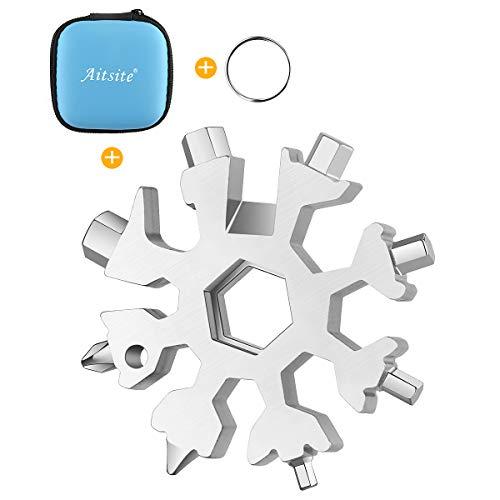 Aitsite Schneeflocke Multi-Tool 18-in-1 Tragbares Edelstahl-Multifunktionswerkzeug für Outdoor-Abent (Silber)