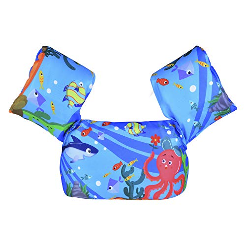 DOOHALO Kids Swim Life Jacket Vest Swimming Aid Floats with Arm Wings Toddler Children Puddle Jumper Suitable for 22-58 lbs Infant Baby (Blue)-Ocean