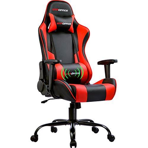 Gtpoffice Gaming Chair Massage Office Computer Chair for Adult Reclining Adjustable Swivel Leather Computer Chair High Back Desk Chair Headrest and Massage Lumbar Support Cushion,1 Pack (Red)