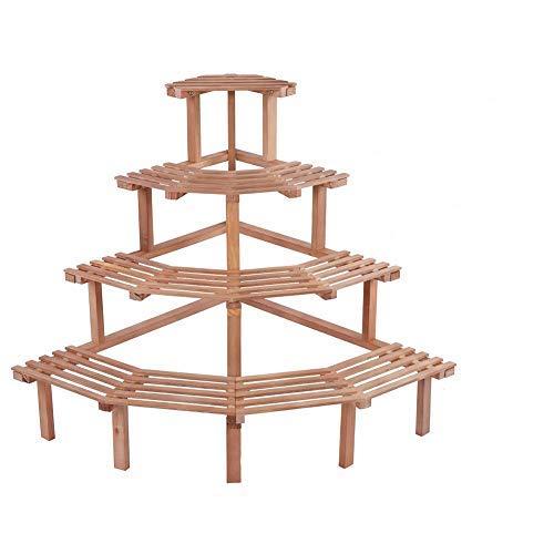 Estante de esquina de madera de pino de 4 niveles para macetas, estante de exhibición de plantas, decoración de jardín (herramienta de siembra gratuita) (madera natural)