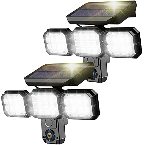 2PACK Solar Sensor Light Outdoor, 3 Heads Security Lights Motion Sensor Alarm Light Radar Sensing 120LED 2400mAh 2200LM Waterproof for Porch Garden Patio Yard Garage Pathway