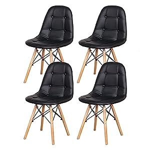 Questa sedia può essere utilizzata in ristoranti, cucine, balconi, caffè e altri luoghi; Ci sono istruzioni di installazione nel pacchetto, si prega di seguire i passaggi di installazione. Le robuste gambe in legno di faggio sono combinate con materi...