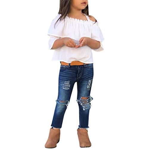 2 Pcs Kleinkind Baby Mädchen Aus der Schulter T-Shirt Tops und Denim Hose Jeans Set