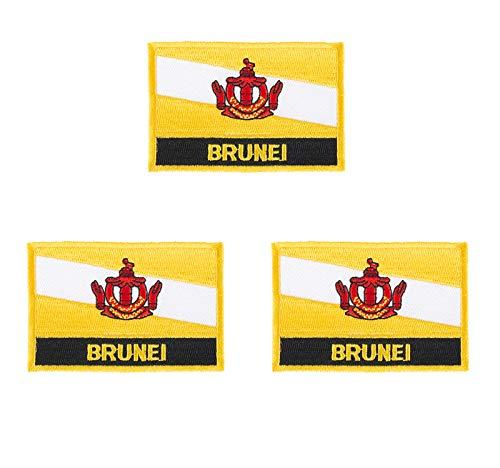 Brunei Aufnäher, bestickt, Flagge, Emblem, zum Aufbügeln oder Aufnähen, 3 Stück