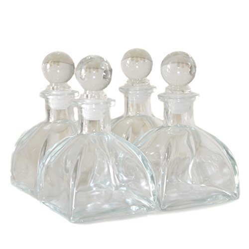 Ougual Juego de 4 botellas de difusor de cristal (9 cm de alto, 150 ml, accesorios para aceites esenciales)
