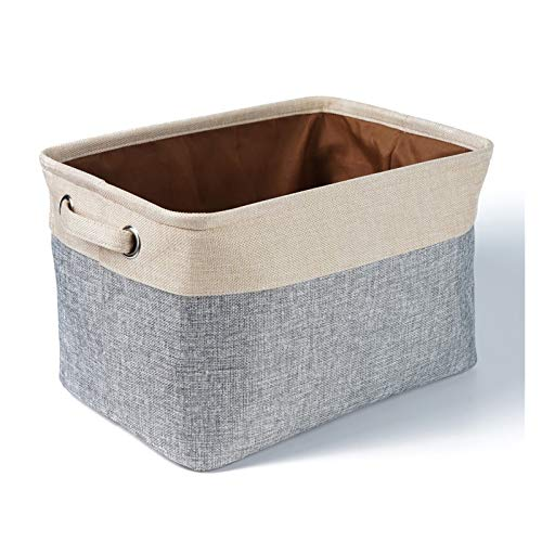 Aitaolian HOMEsn 2 Pack Cotton Linen Storage Box, Foldable Storage Basket Storage Box for Organizing Toys and Clothes (Color : C)