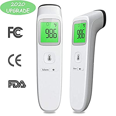 Upgraded Forehead Thermometer for Fever, Digital Medical Baby Kid Adult Thermometer, Accurate Reading Infant Infrared Temporal Thermometer for Body, Surface and Room (white)