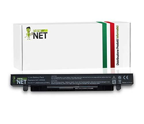 New Net Batteria A41-X550A compatibile con PC Notebook Asus Series F450V F450VC F450VE F452C F452CA F452E F452EA F452EP F452VP F550 F550C F550E F550L F550LB F550V F552C F552CL F552E [14.4V - 2600mAh - 37Wh]