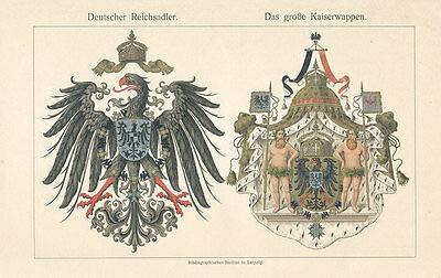 Kunstdruck Deutscher Reichsadler großes Kaiserwappen Deutsche Flaggen Geschichte