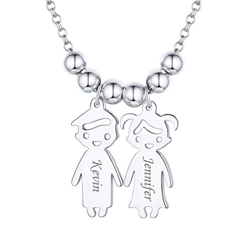 Custom Children's Name Pendant 925 Sterling Silver Engraved Boy& Girl Names Necklaces Personalized Jewelry Gift for Mum Kids