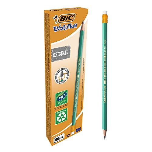 BIC Ecriture Evolution Original Crayons à Papier avec Gomme Intégrée - 50% De Matière Recyclée - HB, Boîte de 12