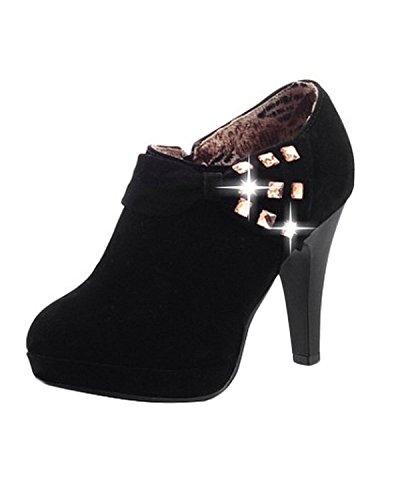 Minetom Mujer Botines Otoño Invierno Botas Del Bowknot Zapatos De Las Bombas Tacón Desnudo Delgado boots