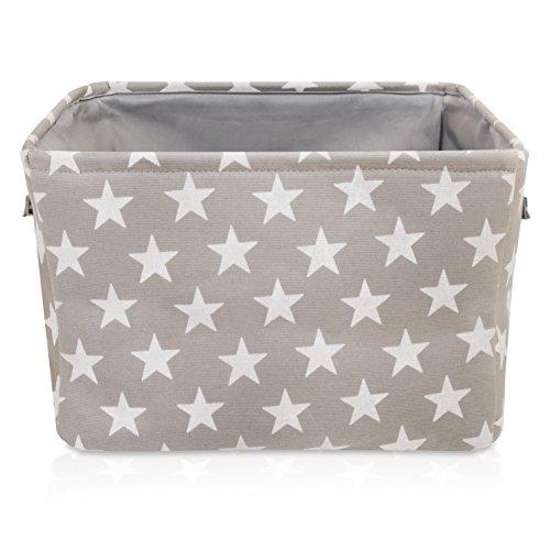 Graufarbener Sternen Leinen-Aufbewahrungskorb - qualitativ hochwertiger Korb mit weiß Sternen für die Aufbewahrung von Haushaltsartikeln. 40cm x 30cm x 25cm