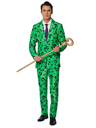 Suitmeister – The Riddler – Halloween Costume for Men in Stylish Print – Full Set: Includes Jacket, Pants and Tie – L