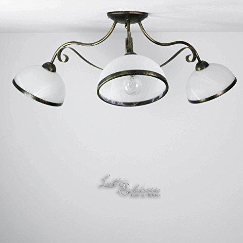 Formschöne Deckenleuchte in Messing Patina Weiß 3x E27 bis zu 60 Watt 230V aus Glas & Metall Küche Esszimmer Lampe Leuchten Beleuchtung innen