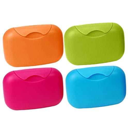 SUPVOX 4 Stück Kunststoff Seifenschale Seifenkorb Seifenbehälter Seifendose Seifenkiste für Reise - Größe L (rosig blau grün orange)
