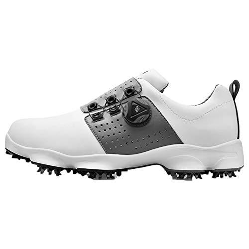 JUST ALONE Männer Golfschuhe Turnschuhe Atmungsaktive Abnehmbare Acht Clau Nagel wasserdichte rutschfeste Swivel Button Lässen Gang Golfplatz Laufen (Farbe : Dark Gray, Size : EU 41)