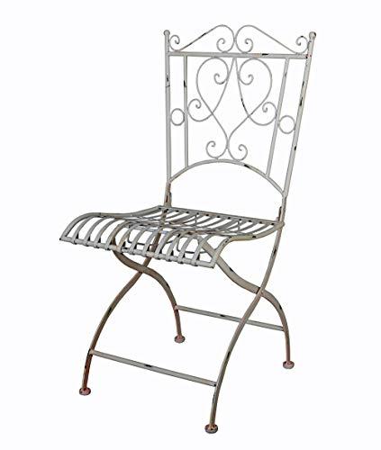 Gartenstuhl Antik Metallstuhl Weiss Stuhl Shabby Chic Balkonstuhl Eisenstuhl aja025 Palazzo Exklusiv