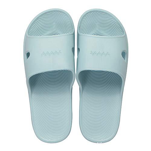 Qsy shoe Pantoufles Printemps Couple intérieur Glisser léger Salle de Bain Porte Usure Mot Maison, Bleu, 40/41 adapté pour 40-41 Verges