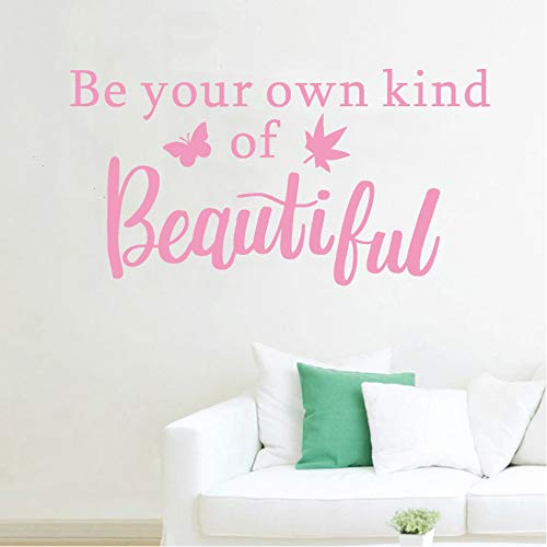 Be Your Own Kind of Beautiful Wall Decals English Lettering Vinyl Stickers, Removable Flowers Art DIY Quote Sticker Mural for Bedroom Living Room Home Window Door Decoration (Pink-beautiful1)