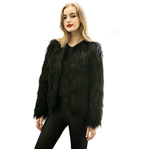 Caracilia Women Winter Warm Fluffy Faux Fur Coat Jacket Black Tag L 37/Short