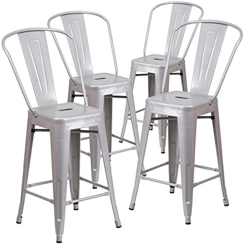 Flash Furniture Commercial Grade 4 Pack 24' High Silver Metal Indoor-Outdoor Counter Height Stool with Removable Back
