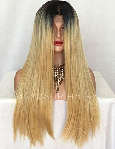 Maycaur Perruques longues et raides en dentelle synthétique pour femme noire avec ligne de cheveux naturelle (noir #613 raide)