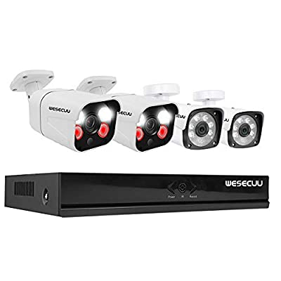 1080P PoE Home Security Camera System,1080P NVR Recorder with 2PCS AI Alarm Cameras and 2PCS Normal Cameras,Floodlight,Siren Alarm and Two Way Audio AI Human Detection Color Night Vision NO HDD