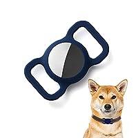 Kuaguozhe Coque de protection en silicone compatible avec Apple Airtag GPS Finder Collier pour chien Pet Loop Holder pour Apple Air_Tags, Slide On Sleeve compatible avec Apple Airtags Bleu
