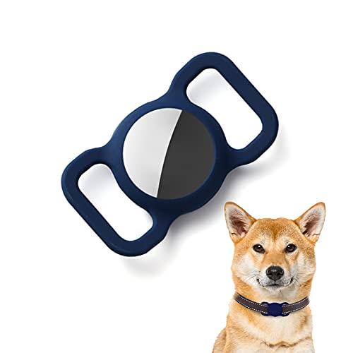 Kuaguozhe Silikon Schutz Hülle Kompatibel mit Apple Airtag GPS Finder Hundehalsband, Pet Loop Holder für Apple Air_Tags, Slide On Sleeve Kompatibel mit Apple Airtags-Blau